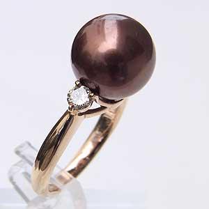 真珠 パール リング タヒチ黒蝶真珠 11mm ゴールドブラウン系 ピンクゴールド 18金 K18PG 指輪 普段使い