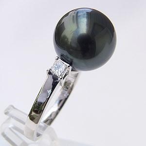 真珠 パール リング タヒチ黒蝶真珠 ダイヤモンド パール グリーン系 12mm PT900 プラチナ