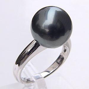 タヒチ黒蝶真珠 リング パール グリーン系 11mm PT900 プラチナ 指輪