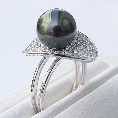 母の日 2019 真珠 リング パール タヒチ黒蝶真珠 10mm ダイヤモンド 0.73ct K18WG ホワイトゴールド 指輪