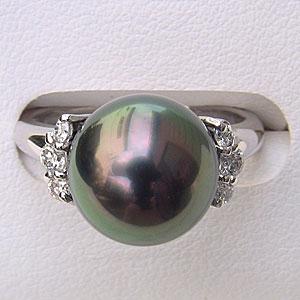 リング パール 指輪 黒真珠パールリング ホワイトゴールド ダイヤモンド 指輪