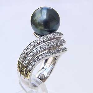 パール リング タヒチ黒蝶真珠 PT900 プラチナ パール グリーン系 11mm 真珠 パール 指輪