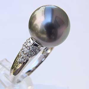 タヒチ黒蝶真珠 PT900 プラチナ パール グリーン系 11mm 真珠 パール 指輪