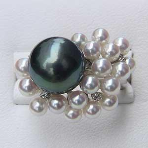 母の日 2019 真珠 リング タヒチ黒蝶真珠 あこや本真珠 ダイヤモンド K18WG ホワイトゴールド 真珠 パール 指輪