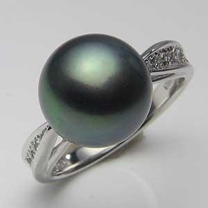 リング パール 指輪 黒真珠パール K10WG ホワイトゴールド リング ダイヤモンド