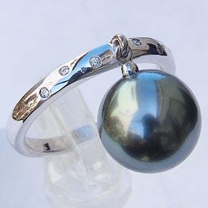 黒真珠 ブラックパール 指輪 タヒチ黒蝶真珠 10mm ホワイトゴールド K18WG カジュアル