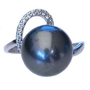 母の日 2019 リング パール 指輪 黒真珠 ブラックパールリング K18ホワイトゴールド ダイヤモンド