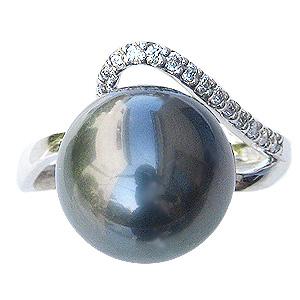 パール リング タヒチ黒蝶真珠 真珠 指輪 ブラックパール 黒真珠 11mm ホワイトゴールド ダイヤモンド カジュアル