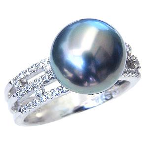 母の日 2019 タヒチ黒蝶真珠 ダイヤモンド 0.26ct K18WG ホワイトゴールド リング グリーン系 ラウンド形 11mm ブラックパール 指輪