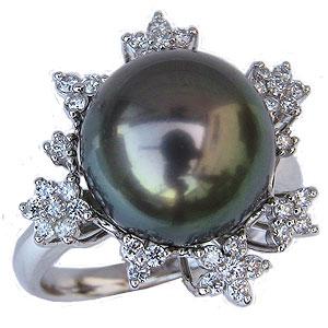 ブラックパールリング 真珠指輪 PT900 プラチナ タヒチ黒蝶真珠 12mm ダイヤモンド付 カジュアル