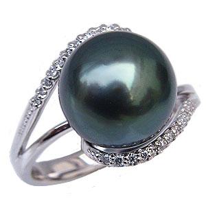 ブラックパールリング 真珠指輪 黒真珠 プラチナ PT900 タヒチ黒蝶真珠 11mm ダイヤモンド付