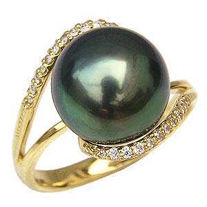 ブラックパールリング 真珠指輪 黒真珠 K18 ゴールド タヒチ黒蝶真珠 11mm ダイヤモンド付 カジュアル