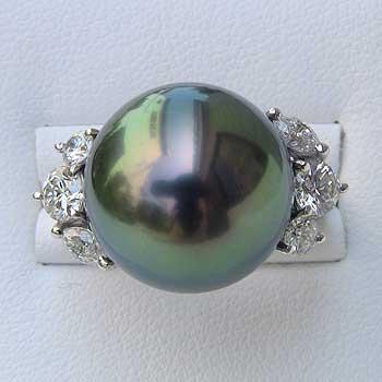 タヒチ黒蝶真珠 リング パール 15mm ピーコックグリーン ダイヤモンド 1.02ct PT プラチナ 指輪 普段使い
