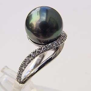 タヒチ黒蝶真珠 PT900プラチナ リング ダイヤモンド パール リング グリーン系 11mm 指輪