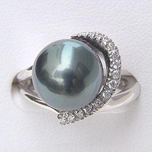 タヒチ黒蝶真珠 リング ダイヤモンド パール グリーン系 11.5mm PT900 プラチナ 指輪