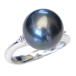 リング パール 指輪 黒真珠 ブラックパールリング K10ホワイトゴールド ダイヤモンド カジュアル