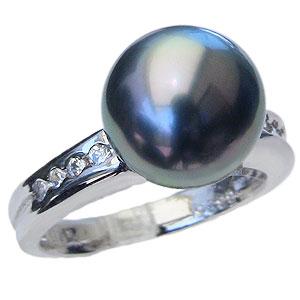 真珠 パール リング タヒチ黒蝶真珠 10mm PT900 プラチナ 真珠 パール 指輪 リング