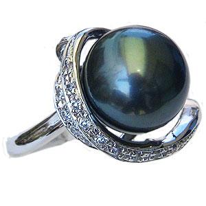 母の日 2019 真珠 パール リング タヒチ黒蝶真珠 11mm 真珠 パール 指輪 リング K18WG ホワイトゴールド