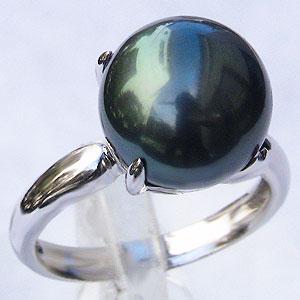 黒真珠 ブラックパール 指輪 タヒチ黒蝶真珠 11mm リング カジュアル