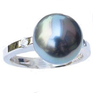 真珠 パール リング タヒチ黒蝶真珠 10mm 真珠 パール 指輪 リング 18金 K18WG ホワイトゴールド 普段使い