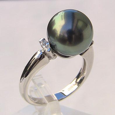タヒチ黒蝶真珠 ダイヤモンド パール リング グリーン系 11mm PT900 プラチナ 指輪