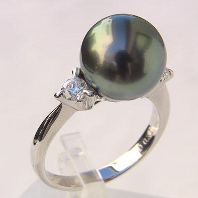 母の日 2019 タヒチ黒蝶真珠リング ダイヤモンド パール グリーン系 11mm K18WG ホワイトゴールド 指輪