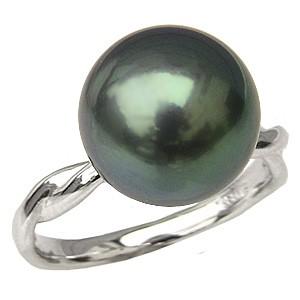 リング パール 指輪 黒真珠パール PT900プラチナリング ダイヤモンド