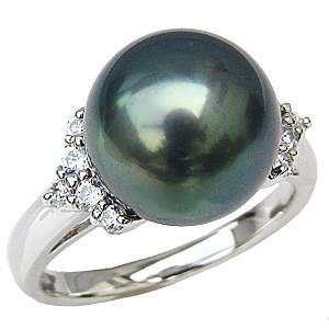 母の日 2019 リング パール 指輪 黒真珠パール PT900プラチナリング ダイヤモンド