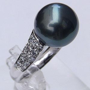 真珠 パール リング タヒチ黒蝶真珠 11mm ブラックパール リング
