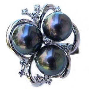 タヒチ黒蝶真珠 18金 K18WG ホワイトゴールド リング ダイヤモンド パール リング グリーン系 ラウンド形 指輪 普段使い