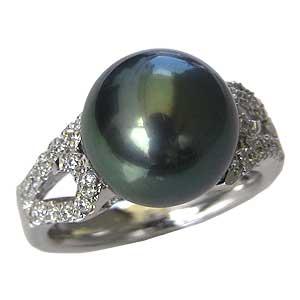 母の日 2019 真珠パール リング タヒチ黒蝶真珠 K18WG ホワイトゴールド ダイヤモンド 26石 0.17ct 真珠の径 11mm グリーン系 6月誕生石 指輪