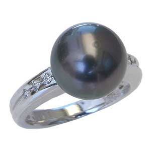 母の日 2019 真珠パール リング タヒチ黒蝶真珠 PT900 プラチナ ダイヤモンド 6石 0.10ct 真珠の径 10mm グリーン系 6月誕生石 指輪