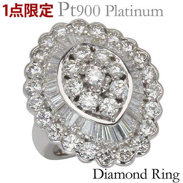 リング 1点限定 特価 フラワー 紡錘型 サークル ダイヤモンド PT900プラチナ 指輪 ラウンドカット テーパーカット 計5.07ct レディース プレゼント 贈答 ジュエリー 保証書付 送料無料
