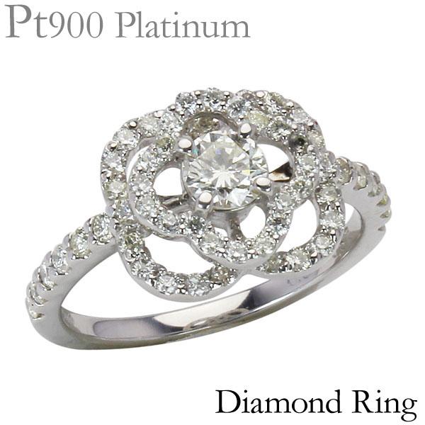 プラチナダイヤモンドリング フラワーモチーフ リング プラチナリング 合計0.87ct~ 花 可愛い レディース ダイヤ プレゼント ジュエリー 保証書付 送料無料
