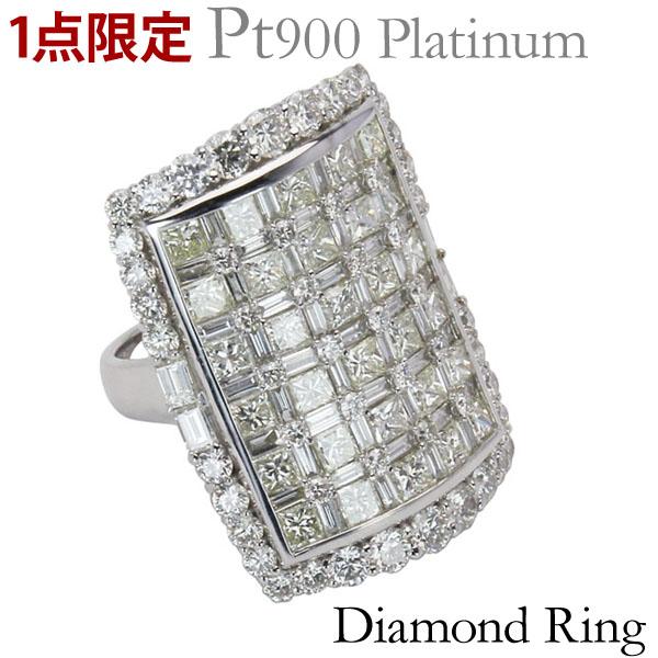 プレゼント 保証書付 送料無料 ダイヤモンド PT900プラチナ レディース リング ジュエリー 贈答 長方形 ラグジュアリ 指輪 特価 1点限定 レクタングル 計約7.00ct