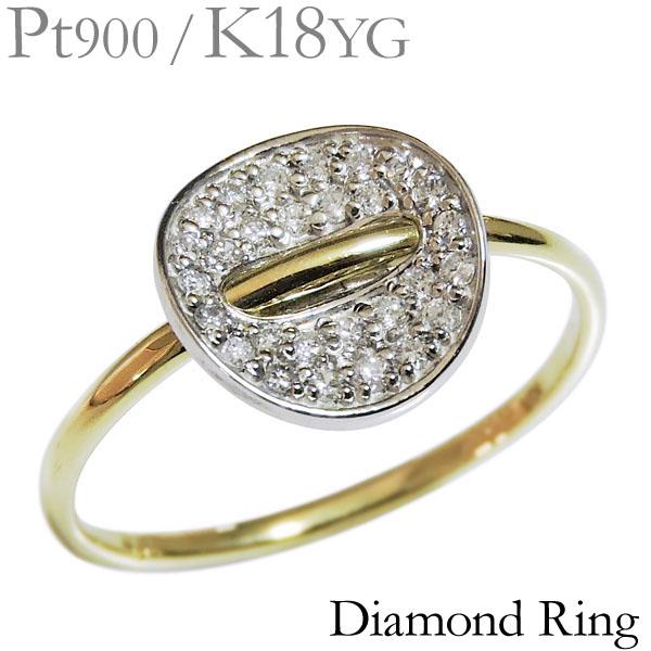 ダイヤモンド リング K18イエローゴールド 0.15ct 指輪 腕貫通デザイン パヴェ レディース ダイヤ プレゼント 贈答 ジュエリー 保証書付 送料無料 カジュアル