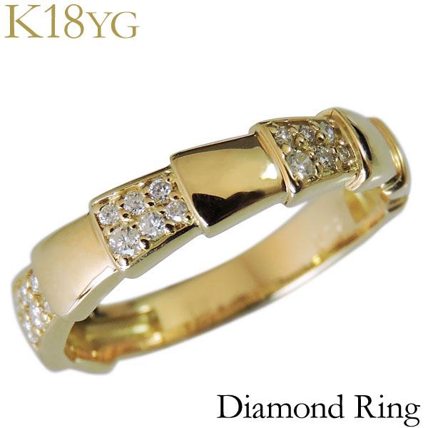 ダイヤモンド リング K18イエローゴールド クリア 0.12ct デザインカット レディース ダイヤ プレゼント 贈答 ジュエリー 保証書付 送料無料