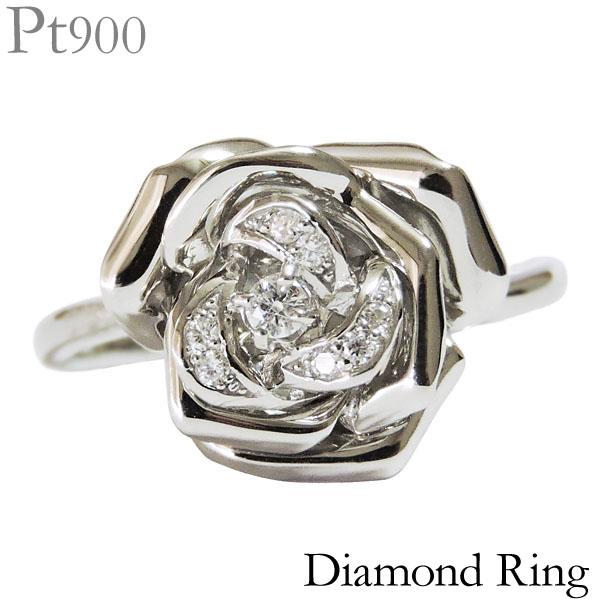 ダイヤモンド リング PT900プラチナ 0.07ct 指輪 薔薇 フラワーモチーフ レディース ダイヤ プレゼント 贈答 ジュエリー 保証書付 カジュアル 送料無料