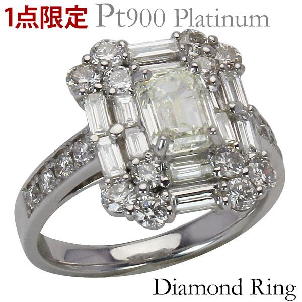 ダイヤモンドリング プラチナ エメラルドカット 婚約指輪 エンゲージリング 指輪 ダイヤモンド 合計2.40ct以上 バケットカット ラウンドカット プレゼント 記念日