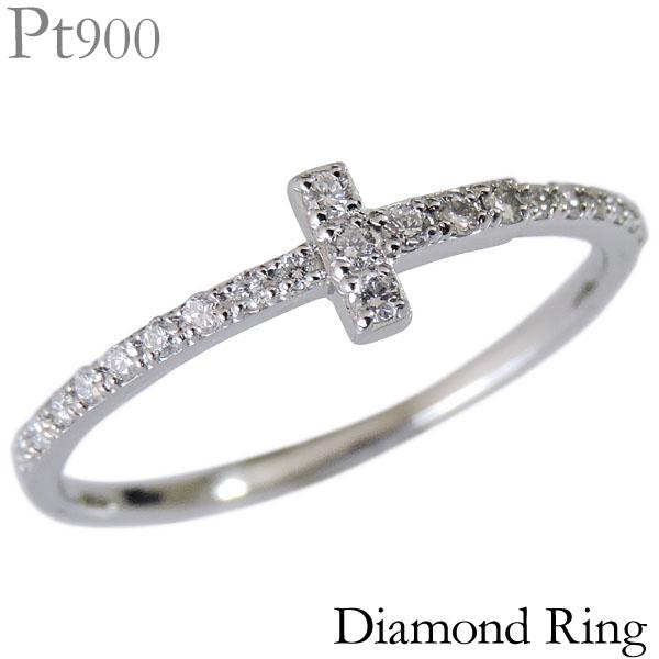 ダイヤモンド リング PT900プラチナ クリア 0.13ct クロス 十字架 デザイン レディース ダイヤ プレゼント 贈答 ジュエリー 保証書付 送料無料