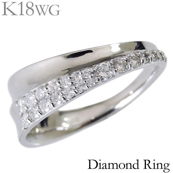 ダイヤモンド リング K18ホワイトゴールド クリア 0.33ct 斜め デザインリング パヴェ レディース ダイヤ プレゼント 贈答 ジュエリー 保証書付 送料無料