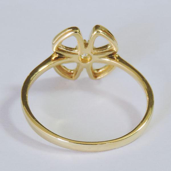 ダイヤモンド リング K18イエローゴールド クリア 0 10ct 花 フラワー リボン クローバー モチーフ 可愛い レディース ダイヤ プレゼント 贈答 ジュエリー 保証書付 送料無料8NnwOmv0y