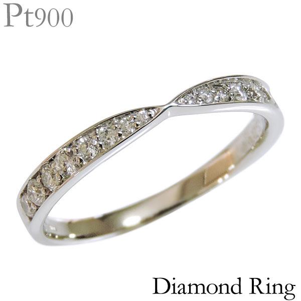 ダイヤモンド リング PT900プラチナ 0.25ct 指輪 インフィニティ型 ハーフエタニティ レディース ダイヤ プレゼント 贈答 ジュエリー 保証書付 送料無料 カジュアル