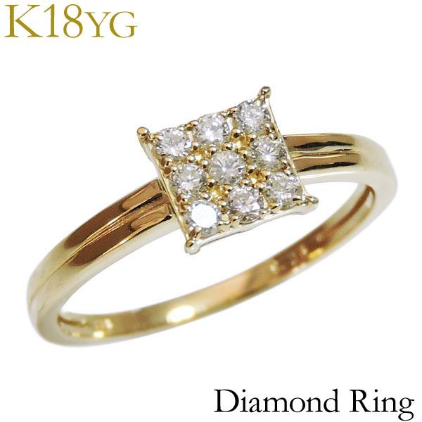 プレゼント カジュアル ダイヤ スクエア型 指輪 贈答 送料無料 ジュエリー 保証書付 ダイヤモンド K18イエローゴールド 0.20ct レディース リング