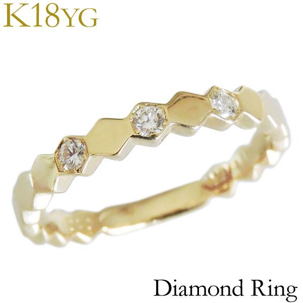 リング ダイヤモンド 0.10ct K18イエローゴールド レディース ダイヤ プレゼント 贈答 ジュエリー 保証書付 送料無料