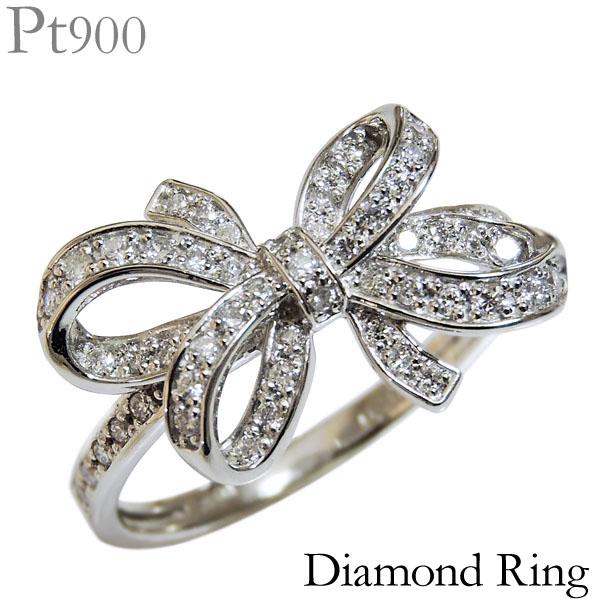 ダイヤモンド リング PT900プラチナ 0.30ct 指輪 リボン モチーフ レディース ダイヤ プレゼント 贈答 ジュエリー 保証書付 カジュアル 送料無料