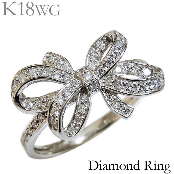 ダイヤモンド リング K18ホワイトゴールド 0.30ct 指輪 リボン モチーフ レディース ダイヤ プレゼント 贈答 ジュエリー 保証書付 カジュアル 送料無料