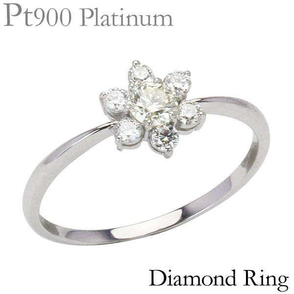 PT900プラチナ ダイヤモンドリング フラワーモチーフ リング 合計0.30ct 花 可愛い レディース ダイヤ プレゼント ジュエリー 保証書付 送料無料