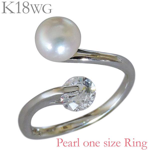 指輪 あこや本真珠 キュービックジルコニア K18ホワイトゴールド 6mm リング レディース アコヤ あこや pearl プレゼント 贈答 ジュエリー 保証書付 送料無料