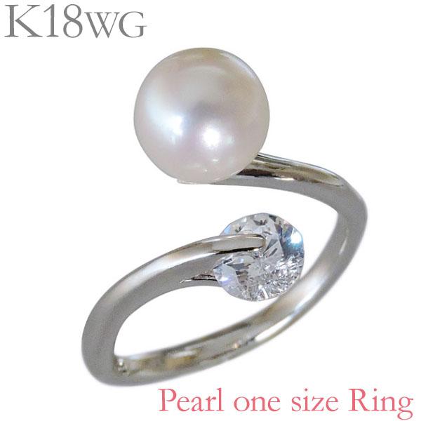あこや リング 7mm プレゼント 指輪 レディース K18ホワイトゴールド キュービックジルコニア 贈答 pearl 送料無料 保証書付 ジュエリー アコヤ あこや本真珠